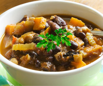 A hearty bowl of black bean, sweet potato chili.